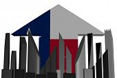 picture of texans  - abstract skyline and Texan flag arrow illustration - JPG