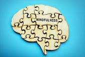 Word Mindfulness On The Piece Of Puzzle. poster