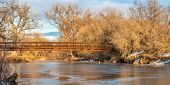 footbridge over frozen river - panorama of Poudre River Trail in northern Colorado in winter scenery poster
