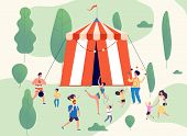 Travelling Circus. Street Performance Shapito In Park. Dancing Acrobat Juggling Clown And Athlete. F poster