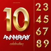 10 Golden Anniversary Celebrating Text On Red Background With Numbers Set. Vector Vertical Anniversa poster