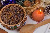 Christmas Kutia - Slavic Traditional Holiday Grain Dish Made Of Wheat Grains And Sweet Gravy In Bowl poster