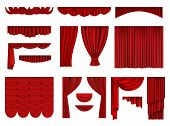 Red Curtains. Textile Theatrical Opera Scenes Decoration Curtains Vector Realistic Collection Set. F poster