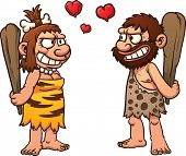 Prehistoric cartoon couple,caveman and cavewoman. Vector illustration with simple gradients. All ele