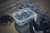 Screws, Confirmations For Furniture, Tape Measure, Clamp, Lie On The Table. Furniture Production poster