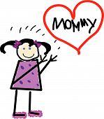 Vector Little Girl For Mommy