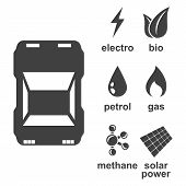 The Icon Of The Car And The Types Of Fuel With Which It Can Be Refueled - Gasoline, Electricity, Bio poster
