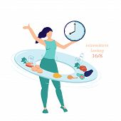 Intermittent Fasting Concept 16 8. The Woman Twists A Hoop - Plate With Food And Drinks Symbolizing  poster