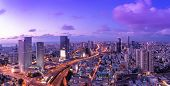 Tel Aviv Skyline At Sunset,  Tel Aviv Cityscape Panorama, Israel poster
