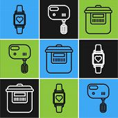 Set Line Smart Watch Showing Heart Beat Rate , Slow Cooker And Electric Mixer Icon. Vector poster