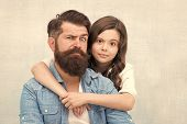 My Father Is The Best. Small Girl Child Hugging Father On Grey Background. Bearded Father And Little poster