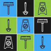 Set Line Squeegee, Scraper, Wiper, Wet Floor And Cleaning In Progress And Toilet Brush Icon. Vector poster