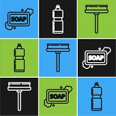 Set Line Bar Of Soap With Foam , Squeegee, Scraper, Wiper And Plastic Bottles For Liquid Dishwashing poster