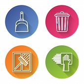 Set Line Dustpan , Trash Can , Squeegee, Scraper, Wiper And Cleaning Service . Color Circle Button.  poster