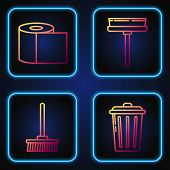 Set Line Trash Can , Mop , Toilet Paper Roll And Squeegee, Scraper, Wiper. Gradient Color Icons. Vec poster
