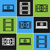 Set Line Online Play Video , Play Video And Play Video Icon. Vector poster