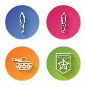 Set Line Military Knife , Military Knife , Military Tank And Chevron . Color Circle Button. Vector poster