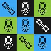 Set Line Chain Link , Safe Combination Lock Wheel And Safe Combination Lock Wheel Icon. Vector poster