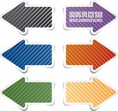 stock photo of arrowheads  - vector striped sticky arrows in six colors - JPG