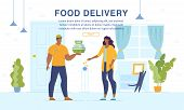 Home Food Delivery Online Ordering Service Webpage Banner. Man Courier Giving Set-meal With Salad To poster