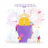 Grow Technology Metaphor. Tiny People Insert Brain Into Person Head. Solution Of Psychological Probl poster