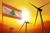 Lebanon Wind Energy, Alternative Energy Environment Concept With Turbines And Flag On Sunset - Alter poster