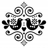 Scandinavian Floral Folk Art Vector Design, Cute Nordic Pattern With Birds In Black On White Backgro poster