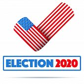 Symbol Of Usa Election 2020. Check Mark Symbol In The Form Of American Flag. Editable Vector Illustr poster