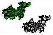 Sikasso Region (regions Of Mali, Republic Of Mali) Map Is Designed Cannabis Leaf Green And Black, Si poster