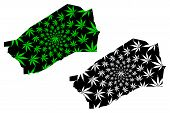 Agadez Region (regions Of Niger, Republic Of The Niger) Map Is Designed Cannabis Leaf Green And Blac poster