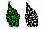 Tahoua Region (regions Of Niger, Republic Of The Niger) Map Is Designed Cannabis Leaf Green And Blac poster