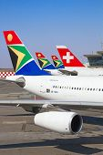 Johannesburg April 18:airbus a340 Ausstiegsvorgang Passagiere nach interkontinentalen Flügen am April