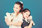 Childhood Concept. Kids Adorable Cute Girls Play With Soft Toys. Happy Childhood. Child Care. Excell poster