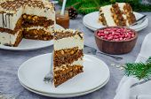 Festive Layer Cake With Chocolate Sponge Cake, Nougat, Salted Caramel And Peanuts. Cake For Christma poster
