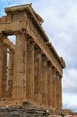 Picturesque View Of Ruins Of Famous Ancient Greek Temple Of Parthenon Against Cloudy Sky. Famous Tou poster