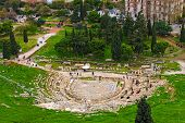 Ancient Theater Of Dionysus Seen From The Hill Of Athens Acropolis. Ancient Ruins. The Theatre Of Di poster