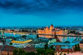 Panoramic View Of Budapest With Hungarian Parliament Building On The Bank Of The Danube After Sunset poster