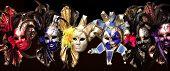 Row Of Venetian Carnival Masks On Black Background. Carnival Concept. Mardi Gras poster
