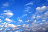 White, Lilac Cumulus Clouds Against The Blue Sky At Sunset, Blue Background poster
