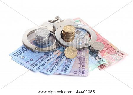 rupiah with handcuff, on white