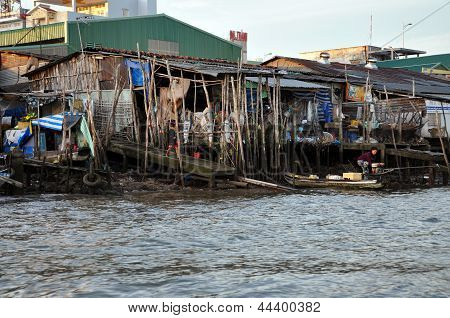 Shack home in the slum area of Mekong delta, Vietnam