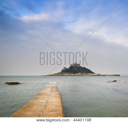 St Michael's Mount Bay Marazion Early Morning Landscape With Path Revealed As Tide Goes Out