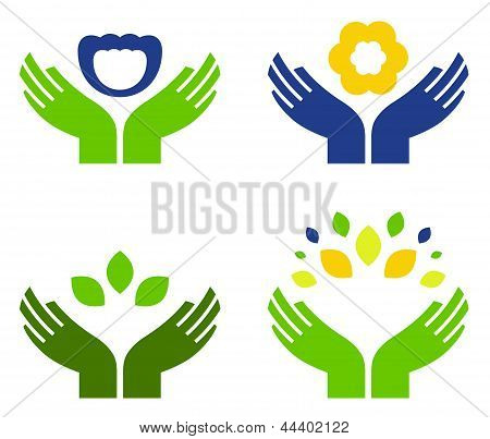 Hands With Nature Symbols Isolated On White