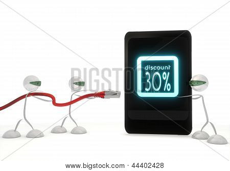 discount symbol on a smart phone with three robots