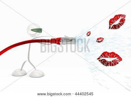 3d graphic of a kissing kiss symbol coming from data cable