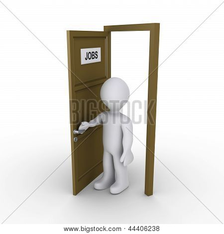Person Opening Door To Find Job