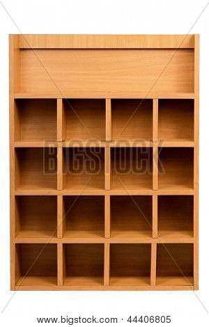Wooden shelf with empty racks