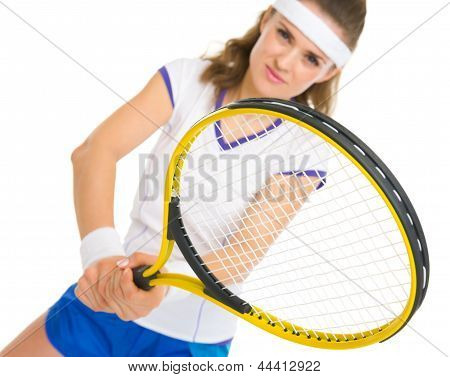 Happy Female Tennis Player In Stance