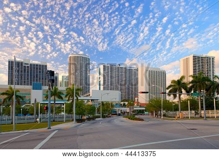 City of Miami Florida colorful panorama of downtown