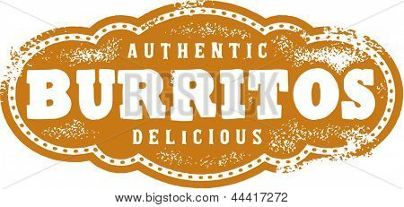 Authentic Mexican Burritos Restaurant Menu Stamp